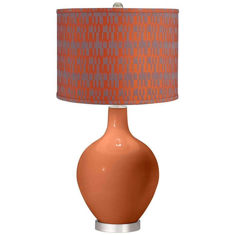 Robust Orange and Taupe Shade Ovo Table Lamp