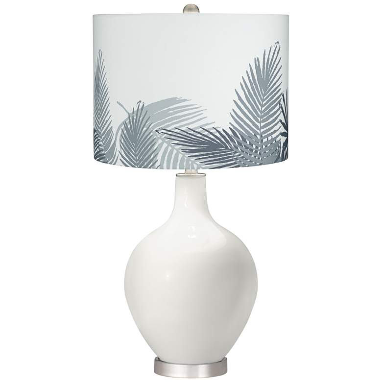 Winter White Gray Palm Leaf Shade Ovo Table