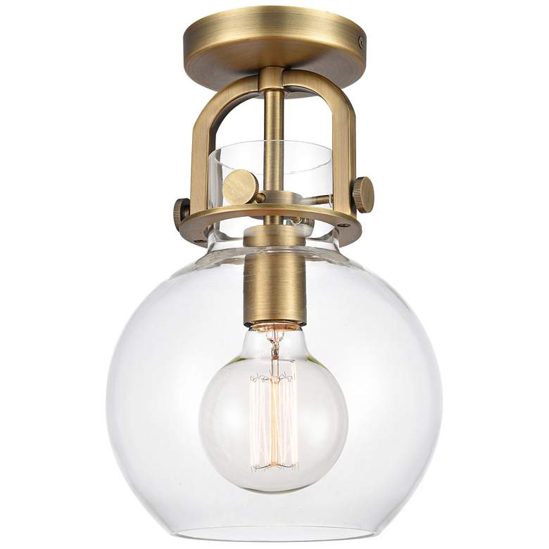 "Newton 8"" Wide Brushed Brass Globe Glass Ceiling Light"