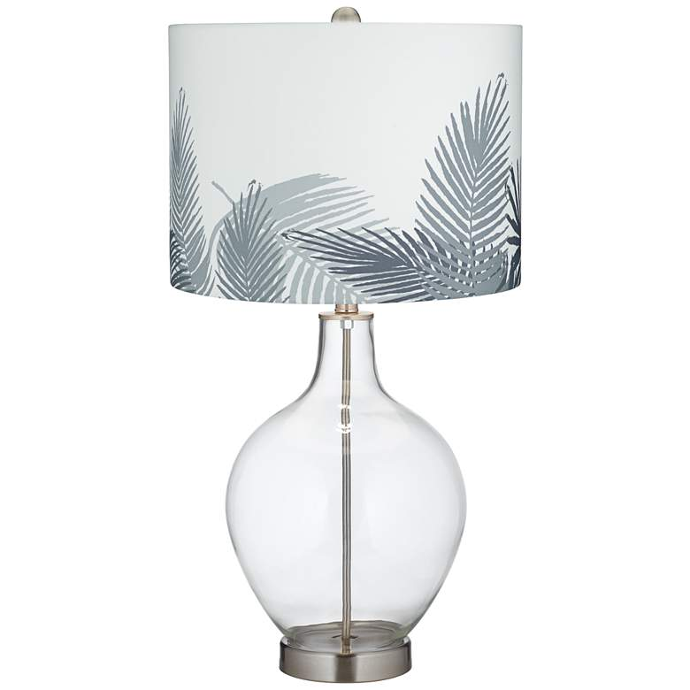 Clear Glass Gray Palm Leaf Shade Ovo Table