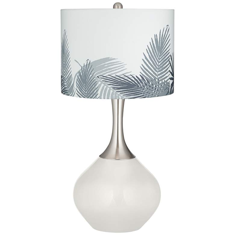 Winter White Gray Palm Leaf Shade Spencer Table Lamp