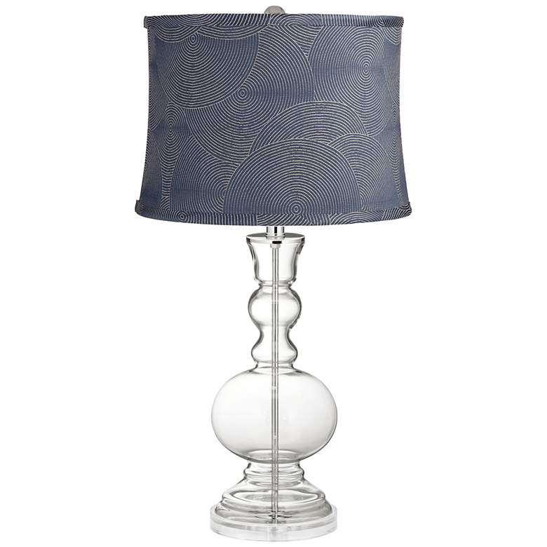 Clear Glass Croydon Navy Shade Apothecary Table Lamp