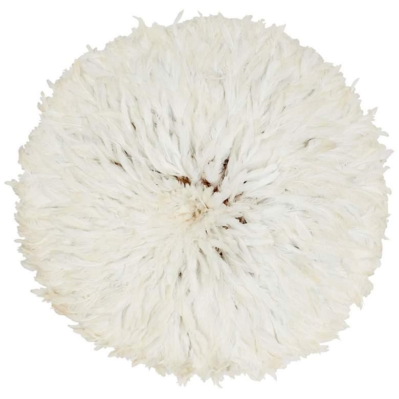 "Juju Hat 28"" Round White Feather Wall Art"