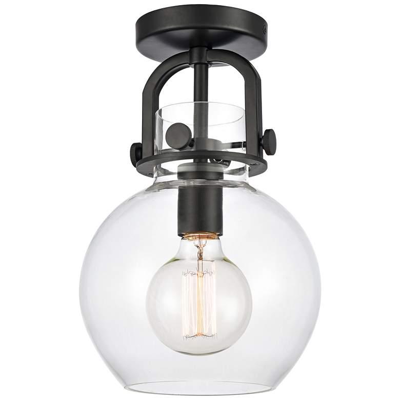 "Newton 8"" Wide Matte Black Globe Glass Ceiling Light"