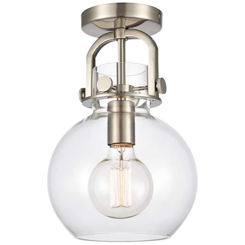 "Newton 8""W Brushed Satin Nickel Globe Glass Ceiling Light"