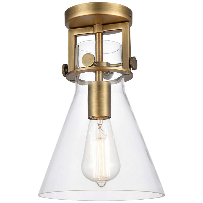 """Newton 8""""W Brushed Brass Truncated Cone Glass Ceiling Light"""