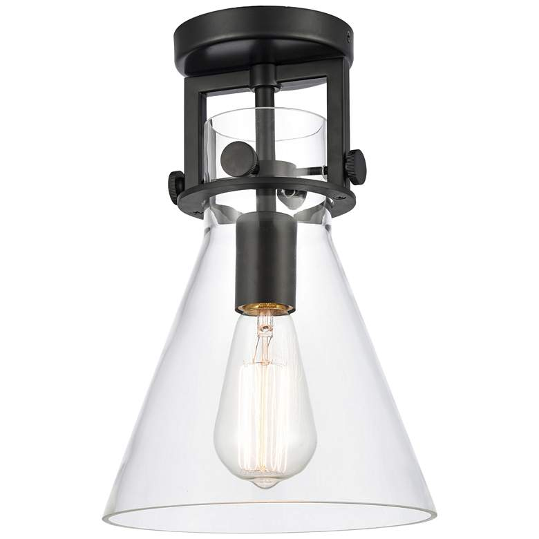 "Newton 8""W Matte Black Truncated Cone Glass Ceiling Light"