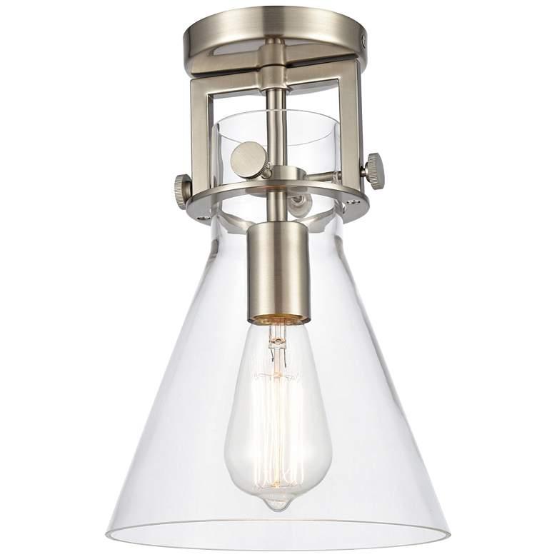 "Newton 8""W Satin Nickel Truncated Cone Glass Ceiling Light"