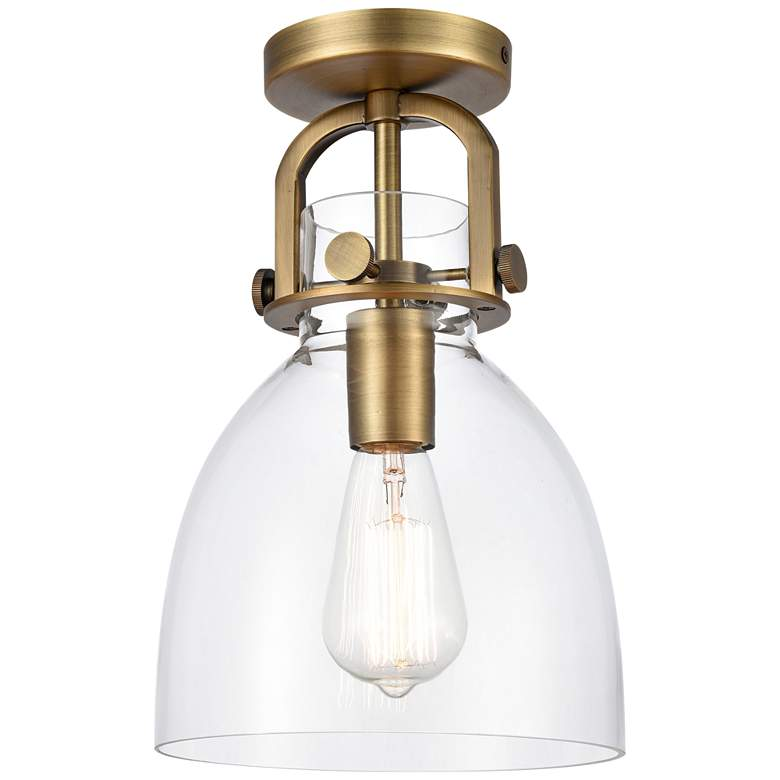 "Newton 8"" Wide Brushed Brass Dome Glass Ceiling Light"