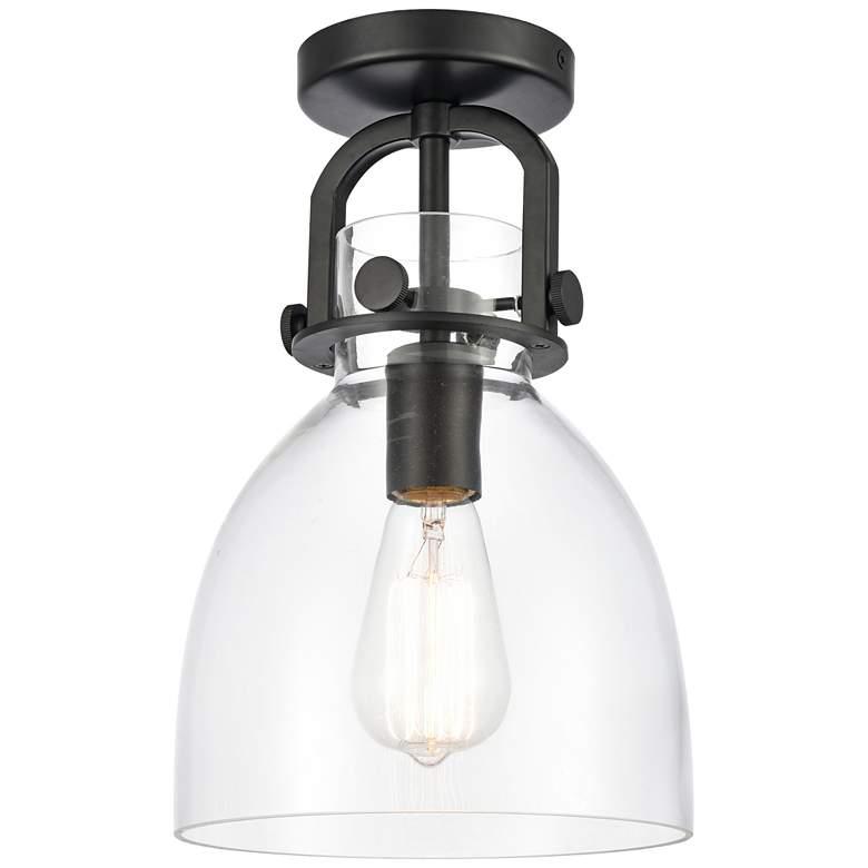 "Newton 8"" Wide Matte Black Dome Glass Ceiling Light"
