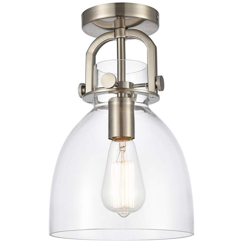 """Newton 8"""" Wide Brushed Satin Nickel Dome Glass Ceiling Light"""
