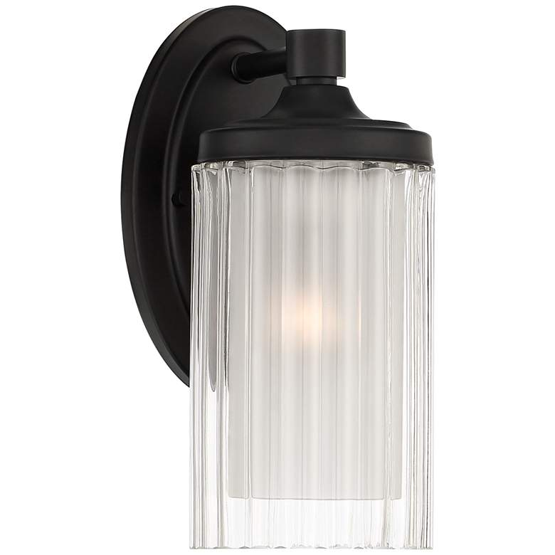 """Possini Euro Dembry 10 1/4"""" High Black and Glass Wall Sconce"""