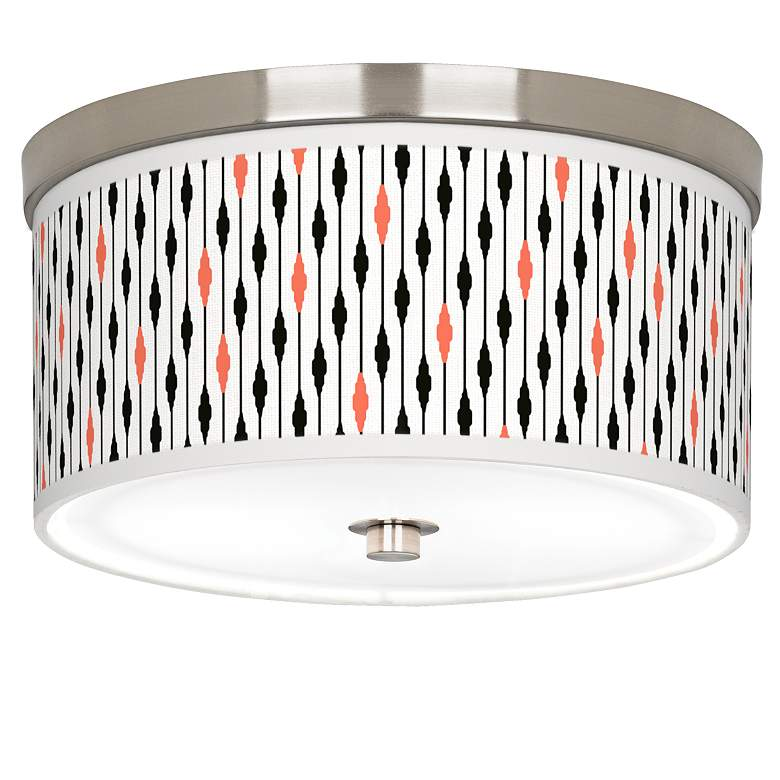 """Retro Lines Giclee Nickel 10 1/4"""" Wide Ceiling Light"""