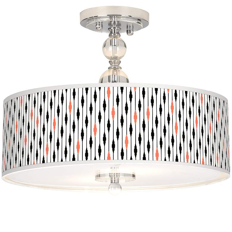 "Retro Lines Giclee 16"" Wide Semi-Flush Ceiling Light"