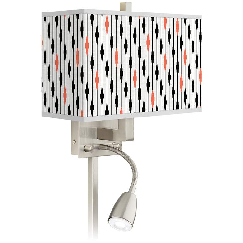 Retro Lines Giclee Glow LED Reading Light Plug-In Sconce