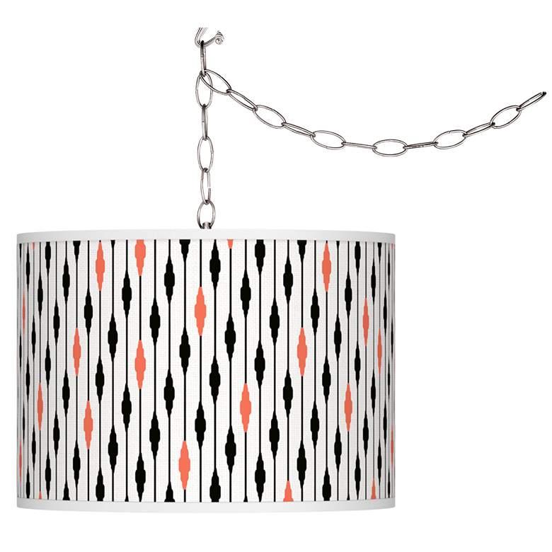 Retro Lines Giclee Glow Plug-In Swag Pendant