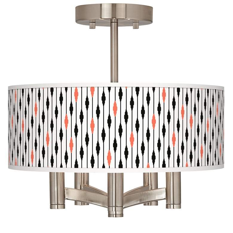 Retro Lines Ava 5-Light Nickel Ceiling Light