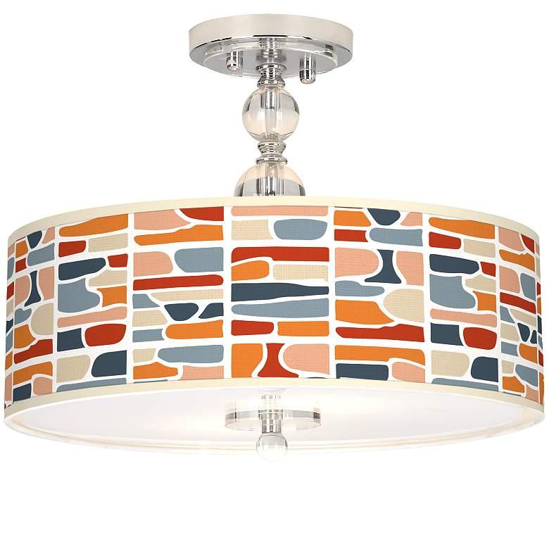 "Retro Cobblestones Giclee 16"" Wide Semi-Flush Ceiling Light"