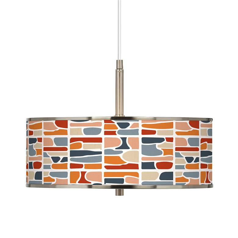 "Retro Cobblestones Giclee Glow 16"" Wide Pendant Light"