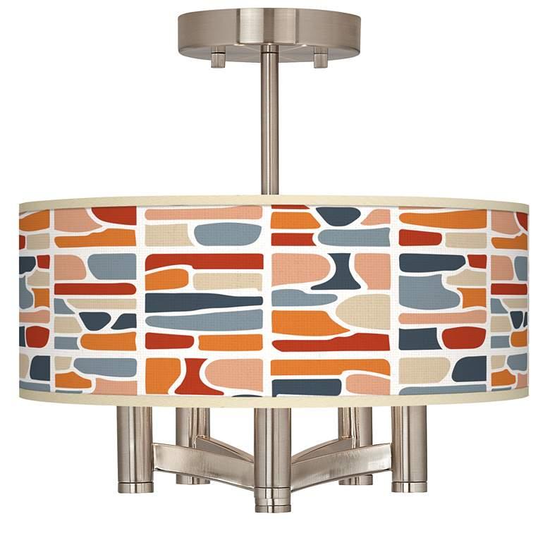 Retro Cobblestones Ava 5-Light Nickel Ceiling Light