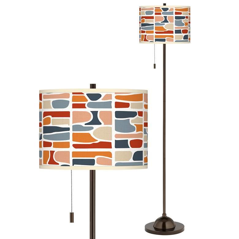 Retro Cobblestones Giclee Glow Bronze Club Floor Lamp