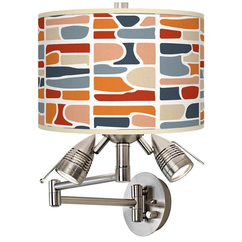Retro Cobblestones Giclee Plug-In Swing Arm Wall Lamp