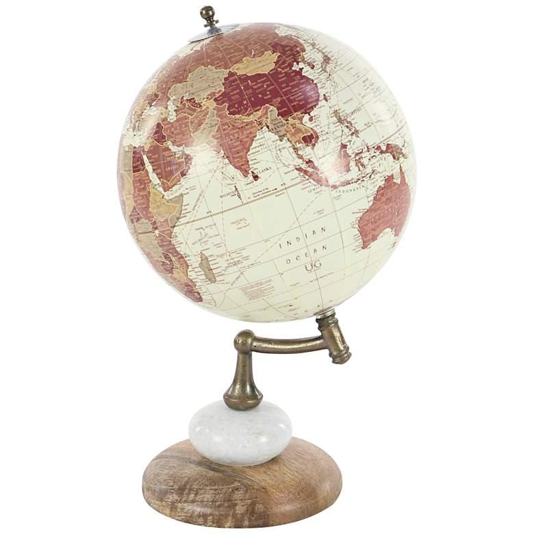 Modern Wood Metal and Marble Decorative World Map Globe