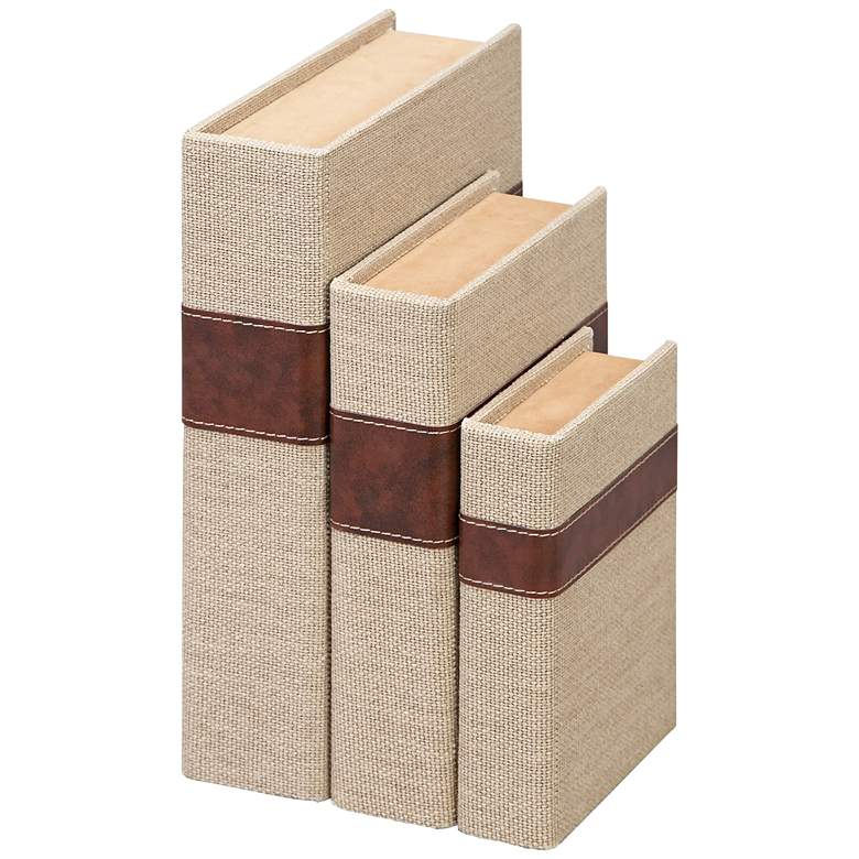 Beige Burlap Covered Wooden Book Decorative Boxes Set