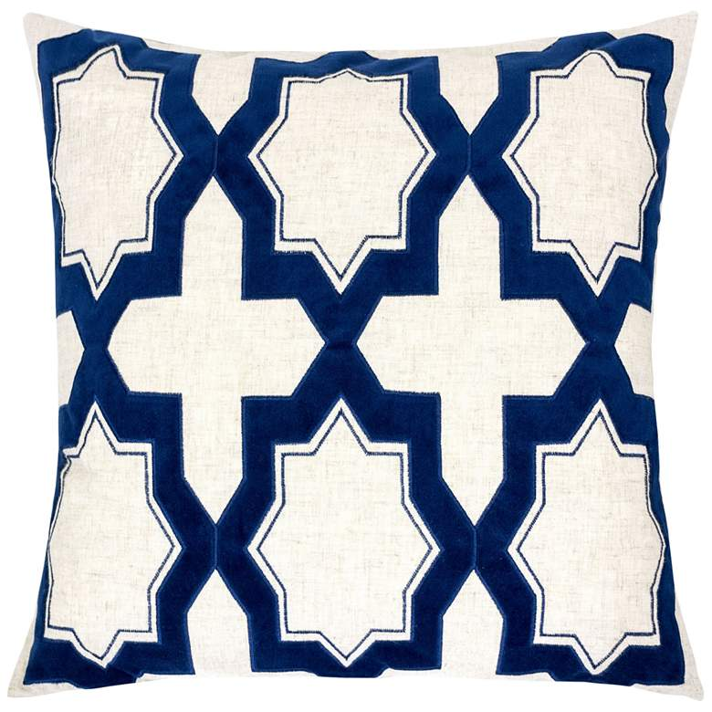 """Natural and Blue Geometric 20"""" Square Decorative Pillow"""