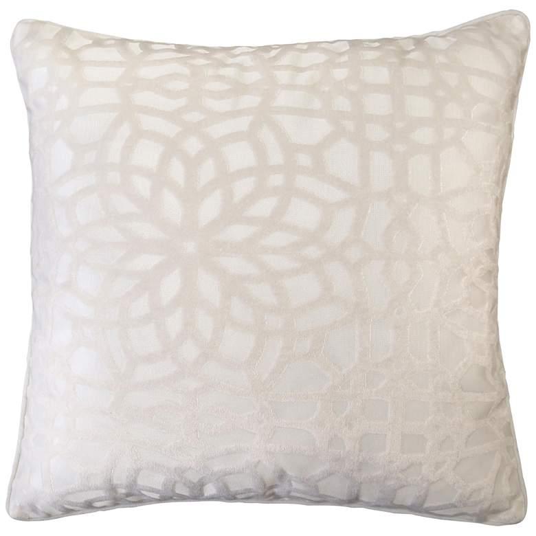 "Ivory Geometric Velvet 20"" Square Decorative Pillow"