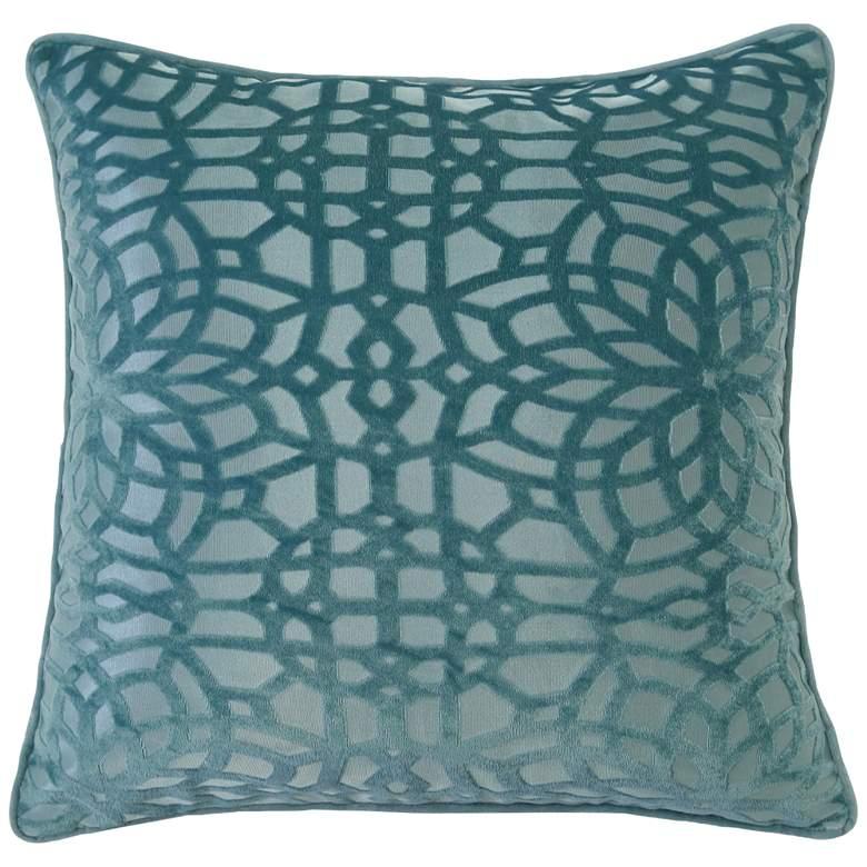 "Cerulean Geometric Velvet 20"" Square Decorative Pillow"