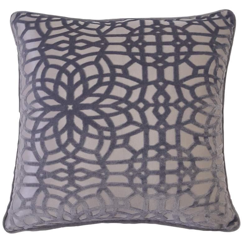 "Gray Geometric Velvet 20"" Square Decorative Pillow"
