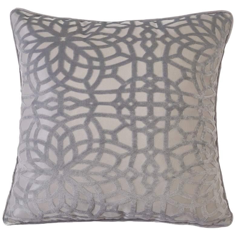 "Silver Geometric Velvet 20"" Square Decorative Pillow"
