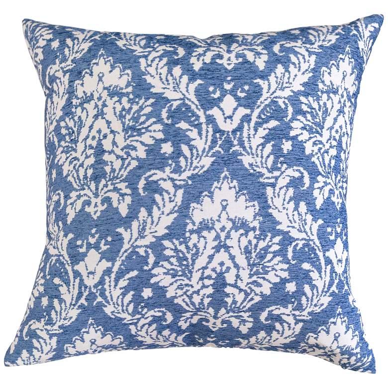 """Blue Floral Chenille Jacquard 24"""" Square Decorative Pillow"""