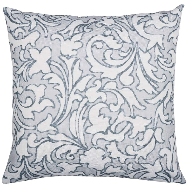 "Silver and Natural Floral 22"" Square Decorative Pillow"