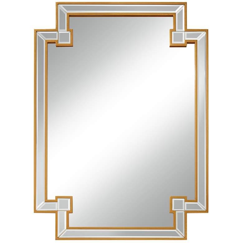 "Gufin Gold Leaf 27"" x 38"" Cut Corner Rectangular Mirror"