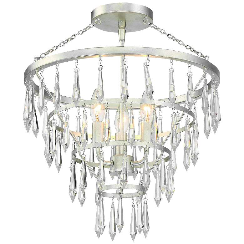"""Crystorama Lucille 18 3/4"""" Wide Antique Silver Ceiling Light"""