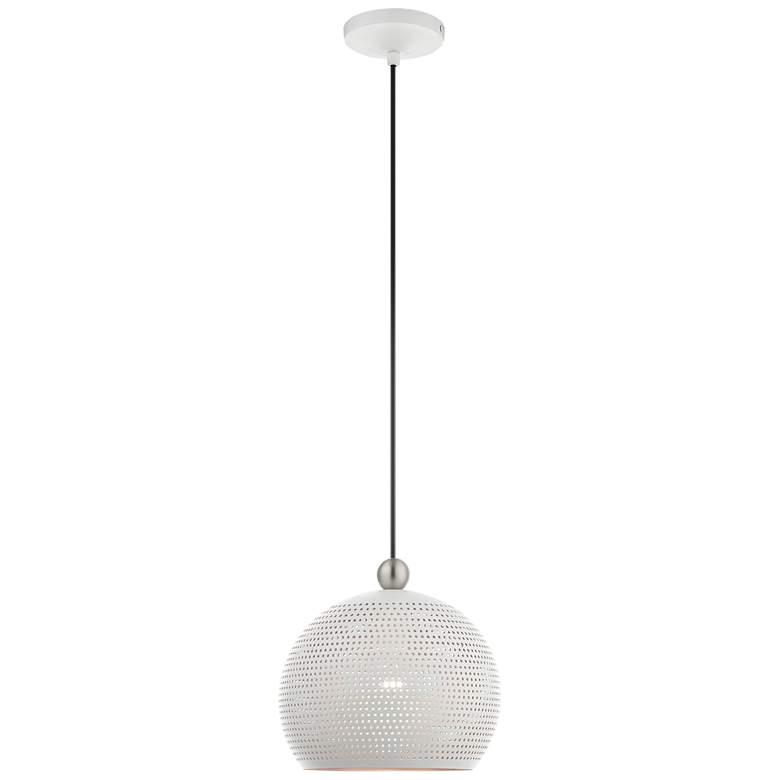 "Dublin 10"" Wide White Metal Globe Mini Pendant Light"