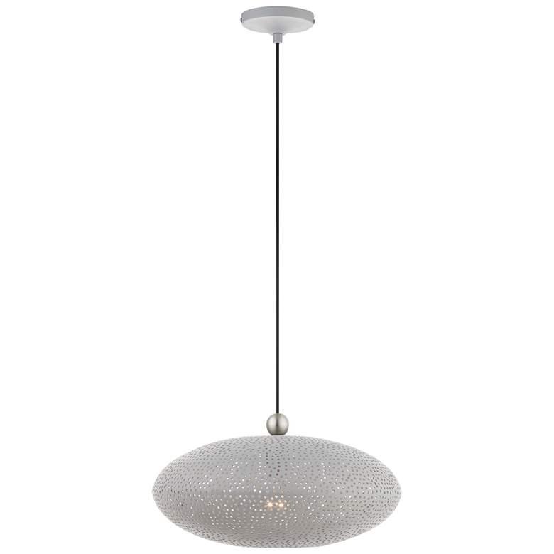 "Dublin 16"" Wide Nordic Gray Metal Oval Pendant Light"