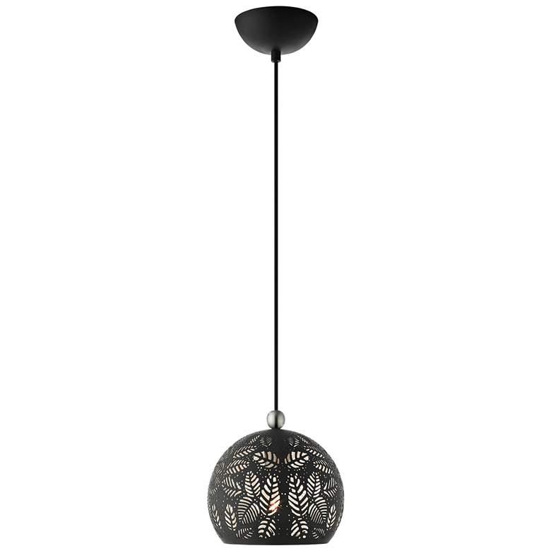 "Chantily 8"" Wide Black Metal Globe Mini Pendant Light"