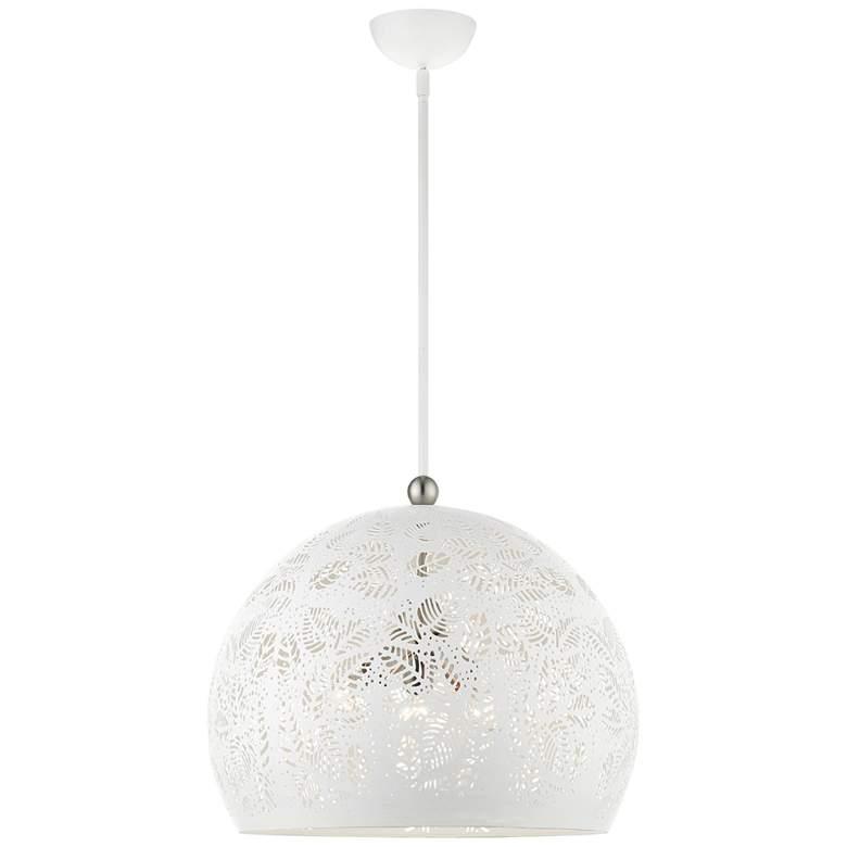 """Chantily 19 3/4"""" Wide White Metal Globe Pendant"""