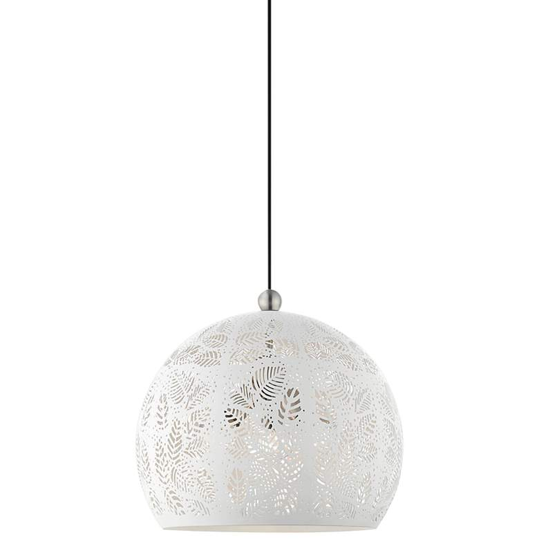 """Chantily 15 3/4"""" Wide White Metal Globe Pendant Light"""