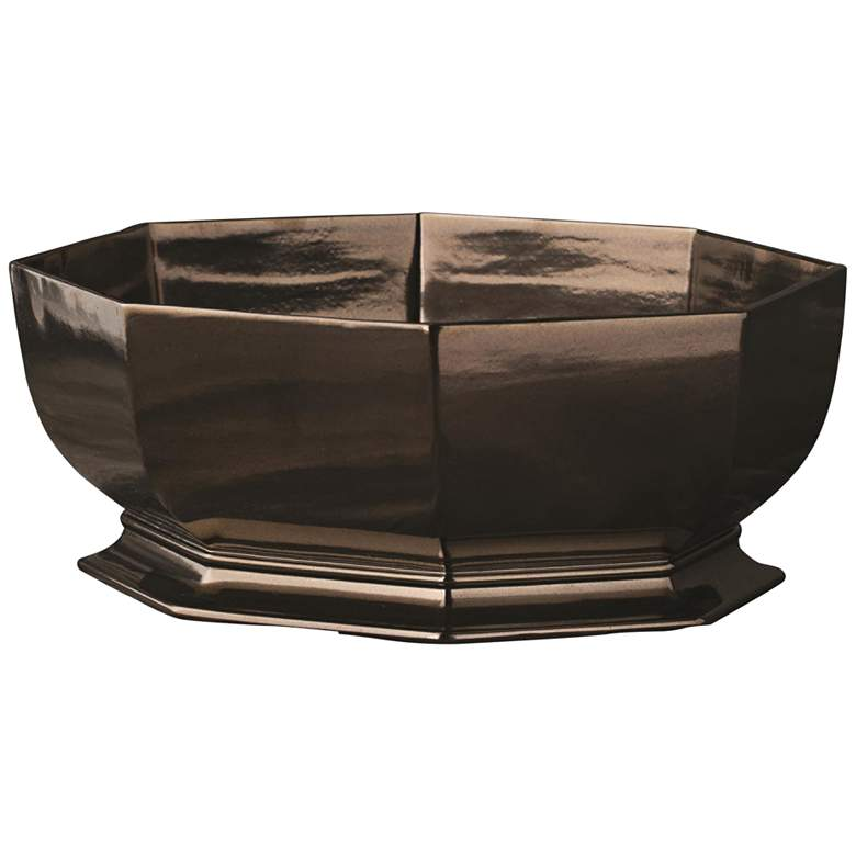Octagonal Bronze Glaze Ceramic Decorative Cachepot