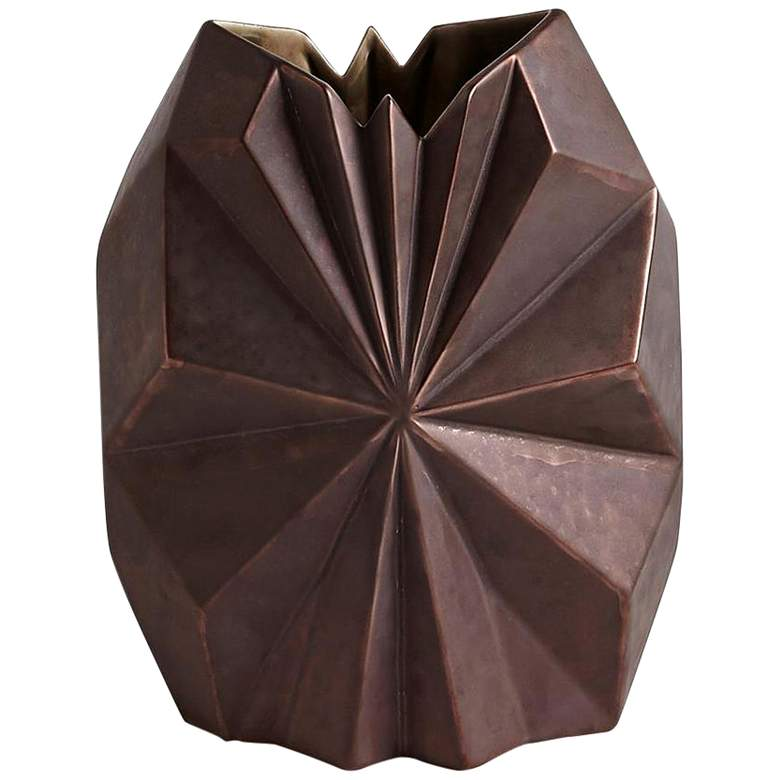 "Star Facet 12 1/2"" High Bronze Ceramic Decorative Vase"