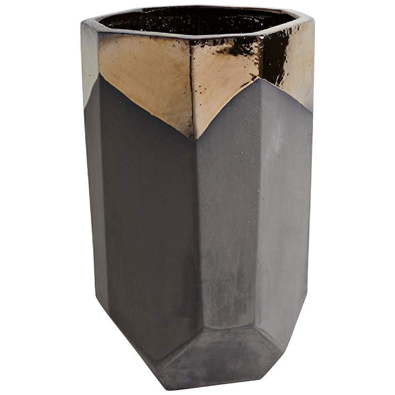"""Faceted Banded Bronze 16""""H Porcelain Decorative Container"""
