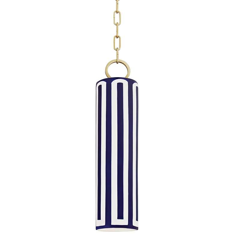 "eBrookville 5"" Wide Aged Brass Pendant Light with Blue Ceramic"