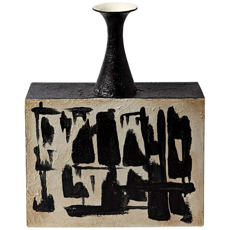 "Thetis 19 1/2"" High Black and Ivory Ceramic Decorative Vase"
