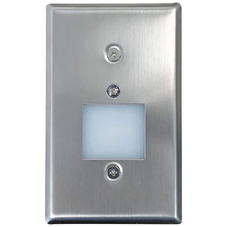 "Nora 2 3/4""W Nickel Lensed Dusk-to-Dawn LED Mini Step Light"