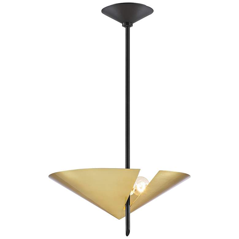 eEquilibrium 2-Light Black Pendant Light with Aged Brass
