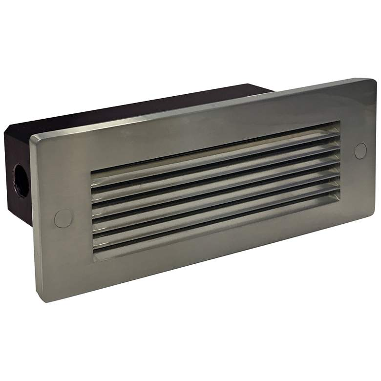 """Nora 8 3/4""""W Nickel Louvered Dimmable LED Step/Brick Light"""